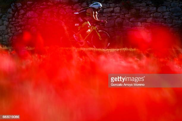 An athlete competes during the biking course of the Ironman 703 Pays d'Aix on May 14 2017 in France