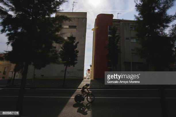 An athlete competes during the biking course of the IRONMAN Barcelona on September 30 2017 in Calella Barcelona province Spain