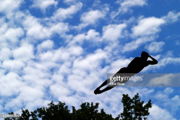 An athlete competes during the Men's 10m Platform Diving final on day nine of the 15th FINA World Championships at Piscina Municipal de Montjuic on...