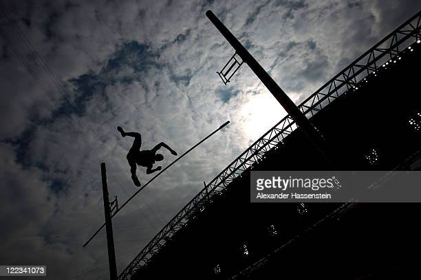 An athlete competes during the pole vault in the men's decathlon during day two of the 13th IAAF World Athletics Championships at the Daegu Stadium...