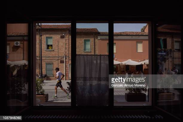 An athlete competes during the running course of Ironman Emilia Romagna on September 22 2018 in Cervia Italy