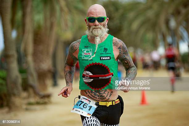 An athlete competes during the running course of the Ironman Barcelona on October 2 2016 in Calella Spain