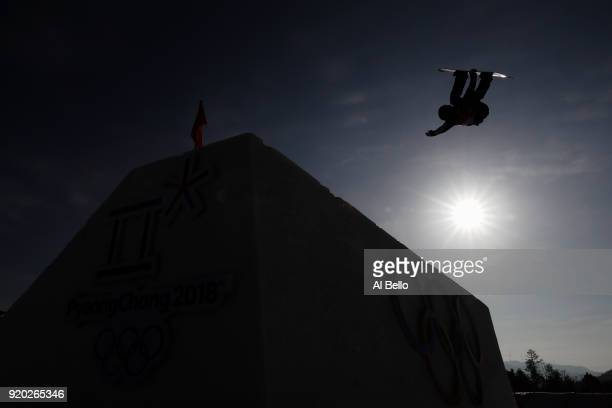 An athlete competes during the Snowboard Ladies' Big Air Qualification on day 10 of the PyeongChang 2018 Winter Olympic Games at Alpensia Ski Jumping...