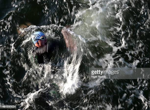 An athlete competes during the swim section of Ironman Copenhagen on August 23 2015 in Copenhagen Denmark