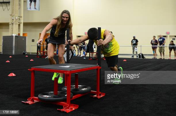An athlete competes during the UFC Gym Challenge during the UFC Fan Expo Las Vegas 2013 at the Mandalay Bay Convention Center on July 6, 2013 in Las...