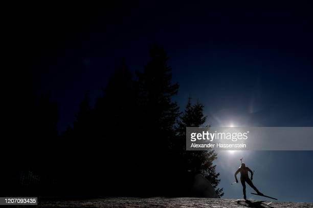 An athlete competes during the Women 15 km Individual Competition at the IBU World Championships Biathlon Antholz-Anterselva on February 18, 2020 in...