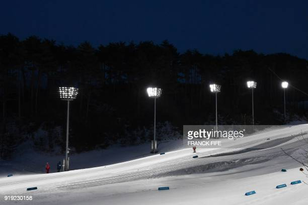 TOPSHOT An athlete competes during the women's 4x5km classic free style cross country relay at the Alpensia cross country ski centre during the...