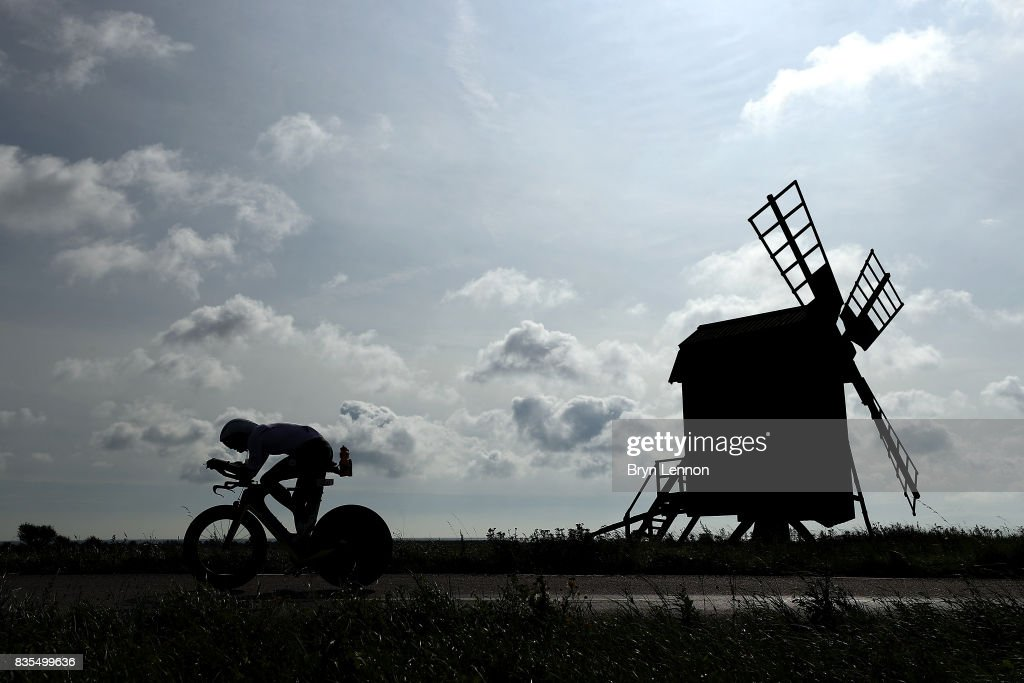 An athlete competes in bike section of Ironman Kalmar on August 19, 2017 in Kalmar, Sweden.