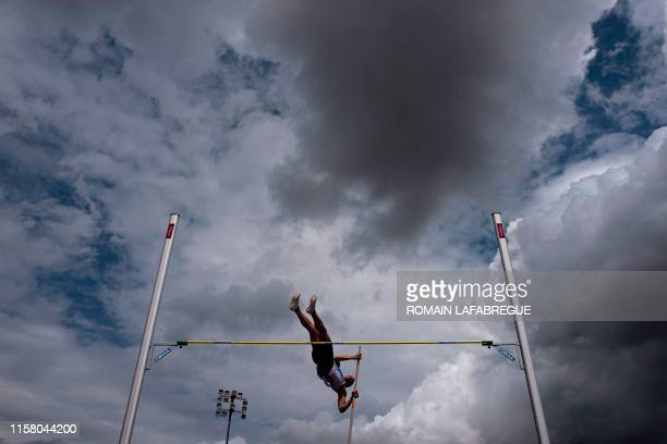 An athlete competes in men's decathlon pole vault during the France Athletics Championships 2019 at the Henri-Lux stadium in Saint-Etienne, central...