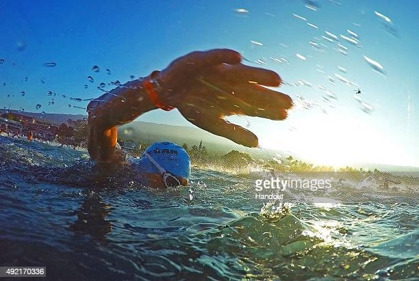 An athlete competes in the 24mile/38km swim during the IRONMAN World Championship presented by GoPro on October 10th 2015 Kailua Kona Hawaii IRONMAN...