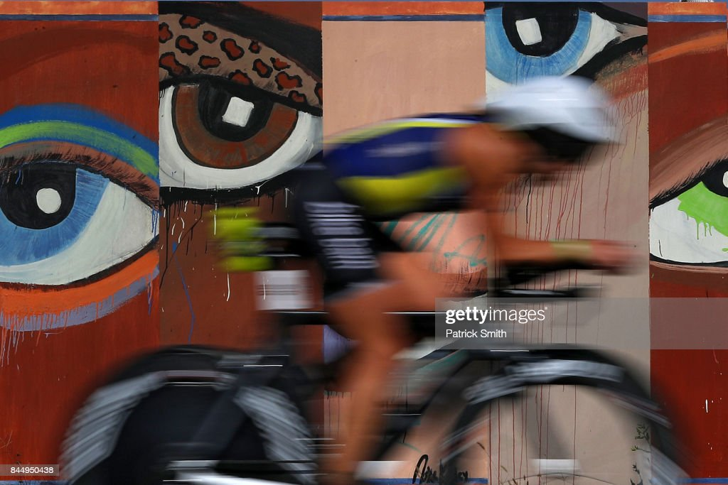 An athlete competes in the bike portion of the IRONMAN 70.3 Women's World Championship on September 9, 2017 in Chattanooga, Tennessee.