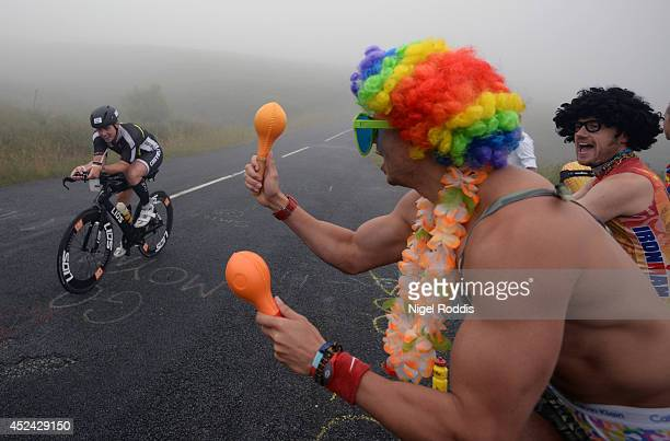 An athlete competes in the bike section during the bike section for Ironman UK on July 20 2014 in Bolton England