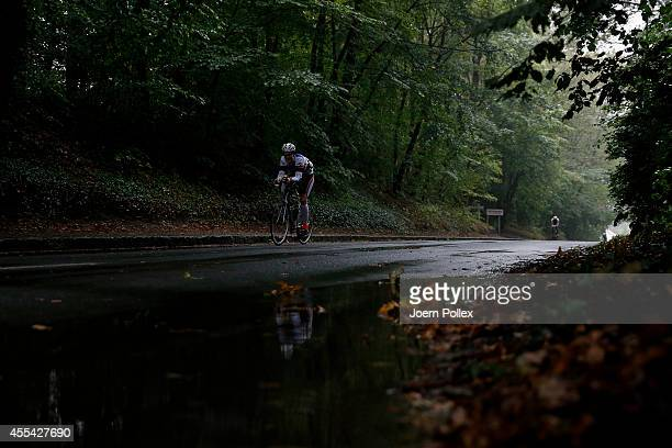 An athlete competes in the bike section during the Ironman 703 Ruegen on September 14 2014 in Binz Germany