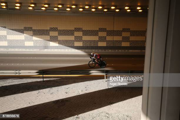 An athlete competes in the bike section of Ironman 703 Middle East Championship Bahrain on November 25 2017 in Bahrain Bahrain