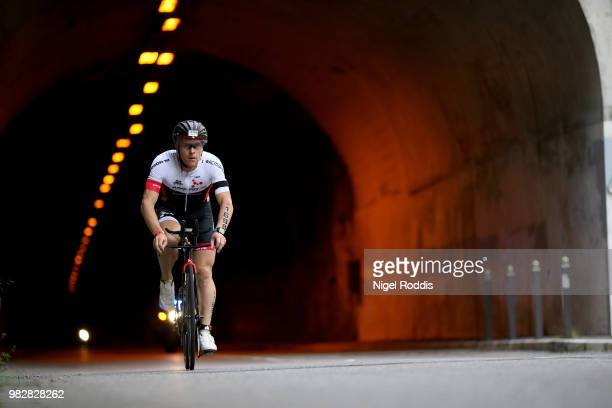 An athlete finishes Ironman Nice on June 24 2018 in Nice France