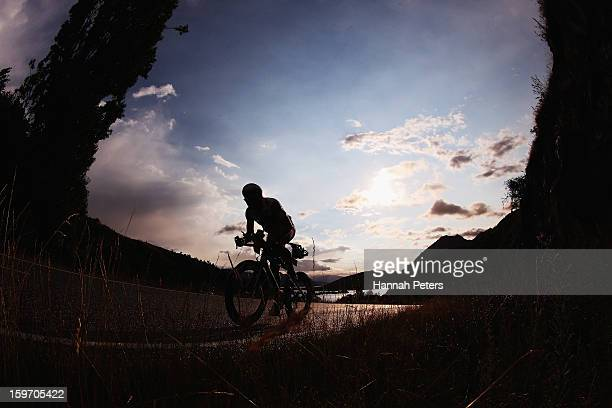 An athlete competes in the cycle leg during Challenge Wanaka on January 19 2013 in Wanaka New Zealand