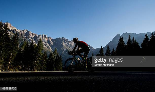 An Athlete competes in the cycling during the Ironman 703 Zell am See Kaprun on August 29 2015 in Zell am See Austria