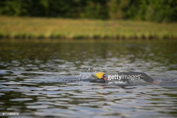 An athlete competes in the DATEV Challenge Roth 2017 on July 9 2017 in Roth Germany