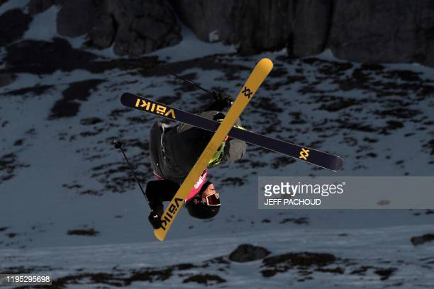 An athlete competes in the Freestyle Skiing Mens Freeski Big Air Qualification rounds as part of Lausanne 2020 Winter Youth Olympic Games on January...