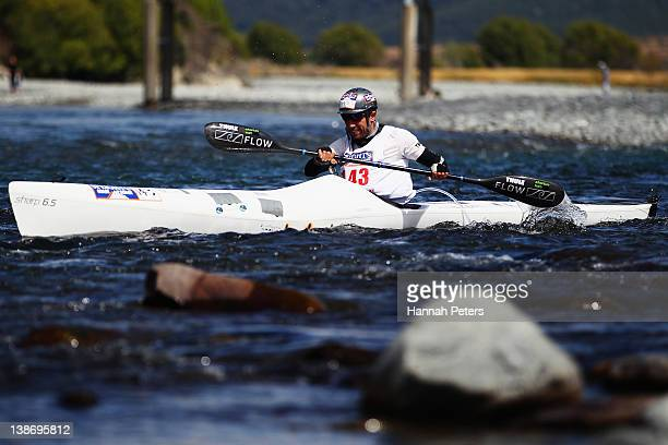 An athlete competes in the Individual One Day event during the 2012 Speights Coast to Coast on February 11 2012 in Greymouth New Zealand