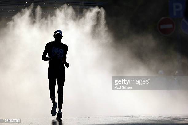 An athlete competes in the Men's 50km Race Walk final during Day Five of the 14th IAAF World Athletics Championships Moscow 2013 at Luzhniki Stadium...