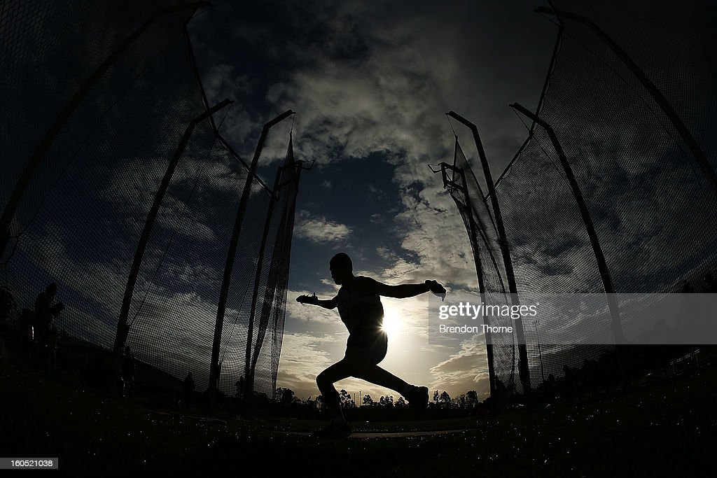 An athlete competes in the Men's Discus Throw during the Hunter Track Classic on February 2, 2013 in Newcastle, Australia.