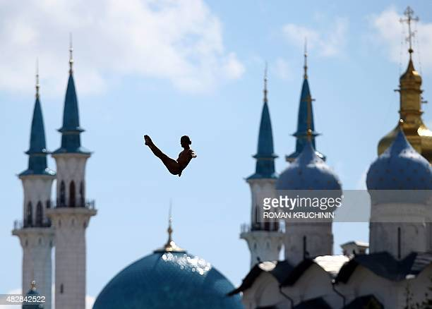 An athlete competes in the men's High Diving 27m preliminary round on day ten of the 16th FINA World Championships at the Kazanka River on August 3...