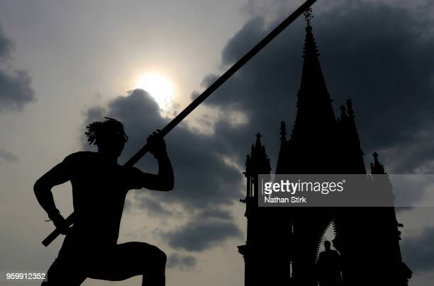 An athlete competes in the mens pole vault during the Great City Games on May 18 2018 in Manchester England