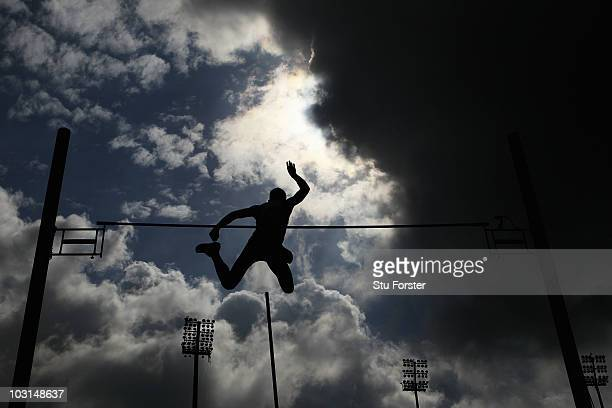 An athlete competes in the Mens Pole Vault Qualifying during day three of the 20th European Athletics Championships at the Olympic Stadium on July 29...