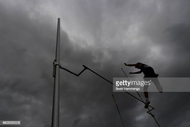 An athlete competes in the mens U16 Pole Vault event during day eight of the 2017 Australian Athletics Championships at Sydney Olympic Park on April...