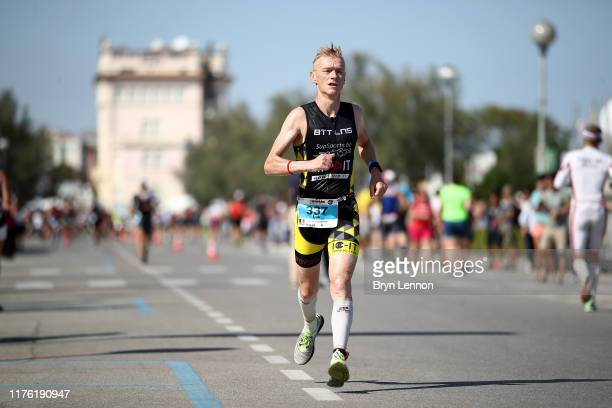 An athlete competes in the run leg of IRONMAN Italy on September 21 2019 in Cervia Italy