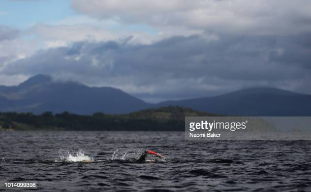 An athlete competes in the Women's 10km race during the Open Water Swimming on Day Eight of the European Championships Glasgow 2018 at Loch Lomond on...