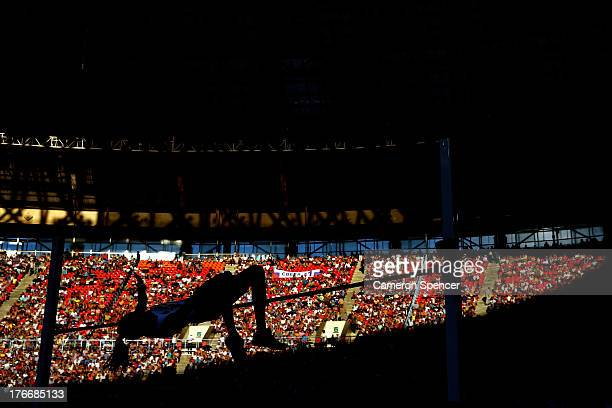 An athlete competes in the Women's High Jump final during Day Eight of the 14th IAAF World Athletics Championships Moscow 2013 at Luzhniki Stadium on...