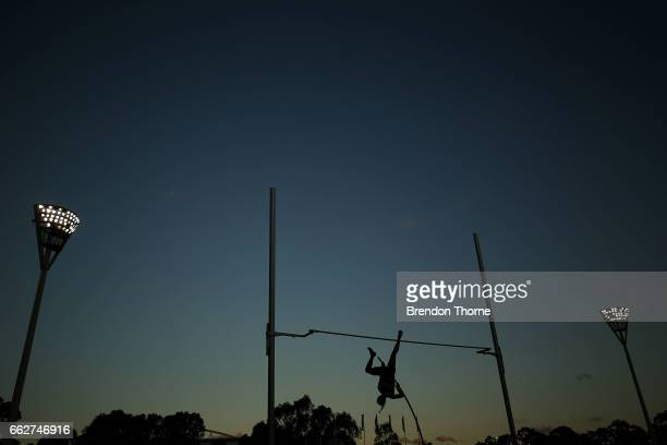 An athlete competes in the Women's Pole Vault Open during day seven of the Australian Athletics Championships at Sydney Olympic Park Athletic Centre...