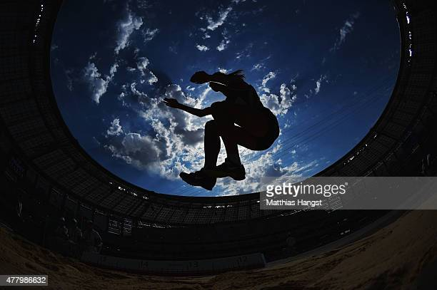 An athlete competes in the Women's Triple Jump during day nine of the Baku 2015 European Games at the Olympic Stadium on June 21 2015 in Baku...