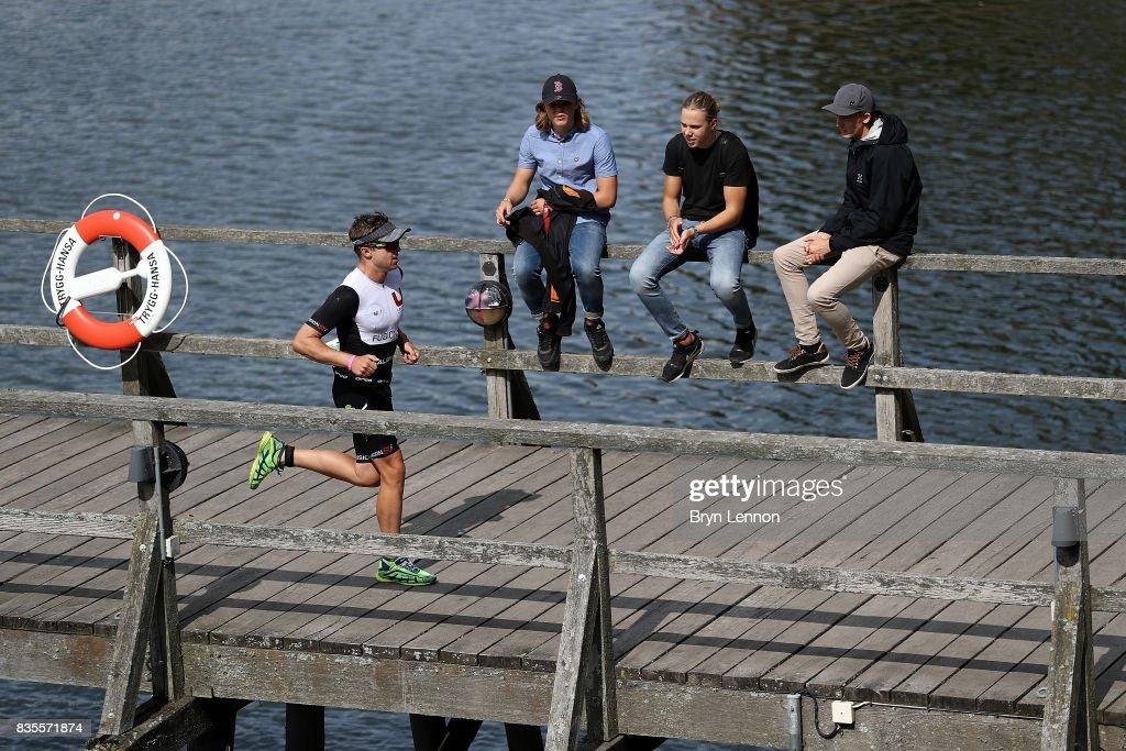 An athlete competes on the run leg of IRONMAN Kalmar on August 19, 2017 in Kalmar, Sweden.