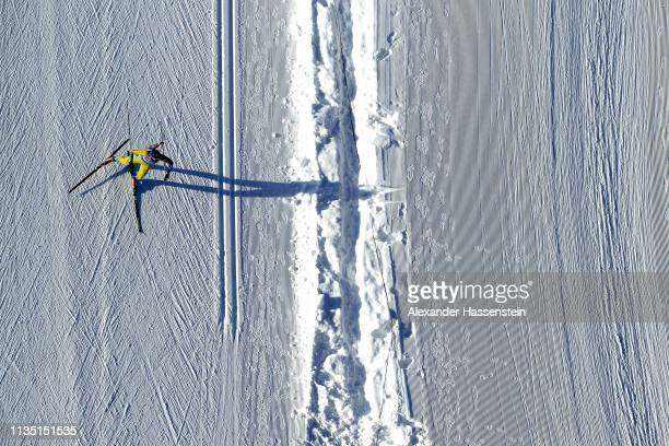 An athlete during a training session at the IBU Biathlon World Championships at Swedish National Biathlon Arena on March 11 2019 in Ostersund Sweden