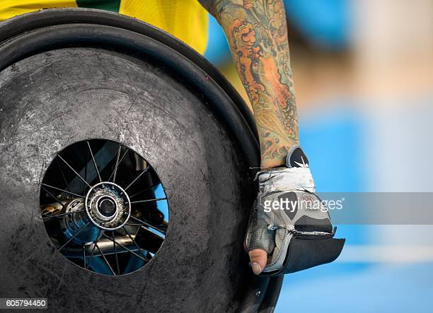 TOPSHOT An athlete during the match between Australia and Great Britain in the Mixed Pool Phase Group A Match 01 Wheelchair Rugby at the Carioca...