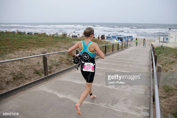 An athlete during the run section of Ironman 703 Ruegen on September 14 2014 in Binz Germany