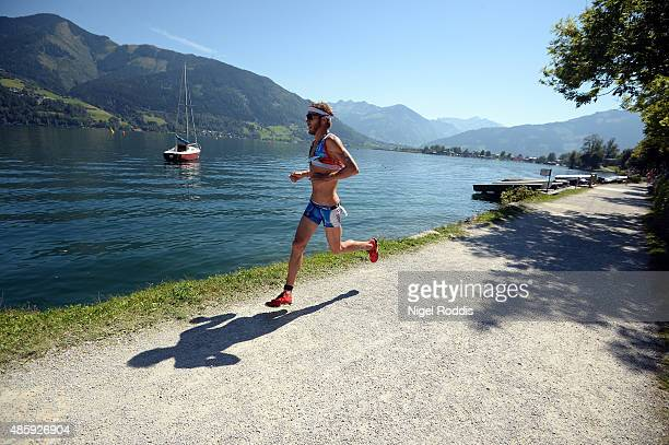 An athlete during the run section of Ironman 703 World Championship on August 30 2015 in Zell am See Austria