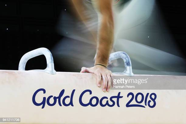 An athlete from Cyprus trains on the pommel horse during an Artistic Gymnastics practice session at the Coomera Indoor Sports Centre ahead of the...