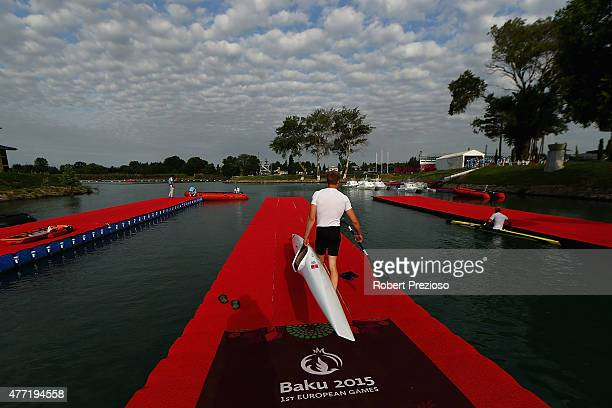 An athlete from Finland prepares to enter the water for training prior to the start of day three of the Baku 2015 European Games at Mingachevir on...