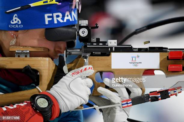 An Athlete from France in action during Biathlon Women's 75km Sprint Official Training ahead of the PyeongChang 2018 Winter Olympic Games at Alpensia...