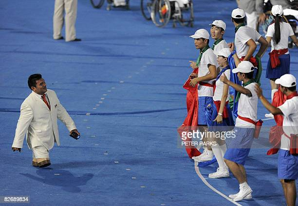 An athlete from Mexico takes part in the opening ceremony in the National Stadium for the 2008 Beijing Paralympic Games on September 6 2008 China...