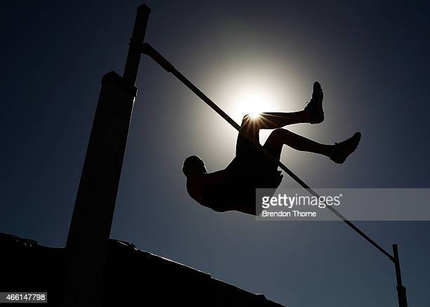 An athlete from the Men's Under 16 High Jump competes during the Australian Junior Athletics Championships at Sydney Olympic Park on March 14 2015 in...