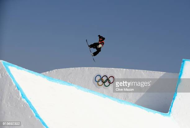 An athlete in action during Slopestyle training ahead of the PyeongChang 2018 Winter Olympic Games at Phoenix Park on February 8 2018 in...