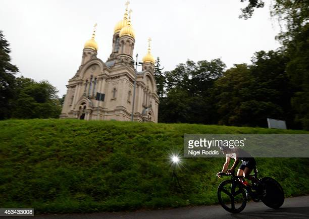 An athlete in action during the bike section of Ironman 703 European Championship on August 10 2014 in Wiesbaden Germany