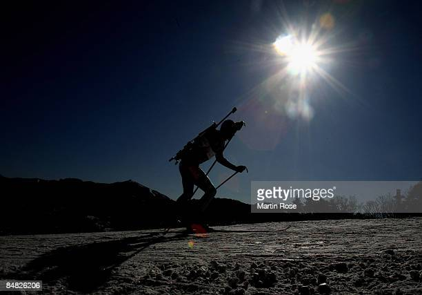 An athlete in action during the Mens's 20 km individual of the IBU Biathlon World Championships on February 17 2009 in Pyeongchang South Korea