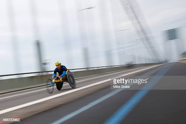 an athlete in the Wheelchair division crosses the VerrazanoNarrows Bridge at the start of the TCS New York City Marathon on November 1 2015 in New...