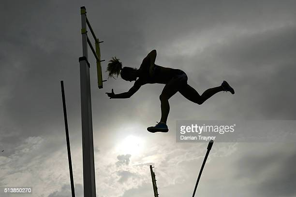 An athlete in the women's pole vault fails a jump during the IAAF World Challenge at Olympic Park on March 5 2016 in Melbourne Australia
